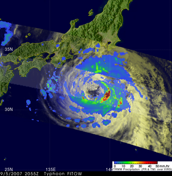 Satellite image of Typhoon Fitow