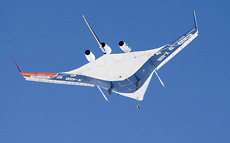 X-48B Blended Wing Body aircraft during the aircraft's first flight, on July 20, 2007.