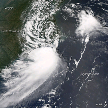 Satellite image of Depression Gabrielle