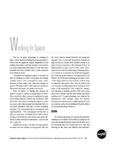 The first page of the Working in Space section