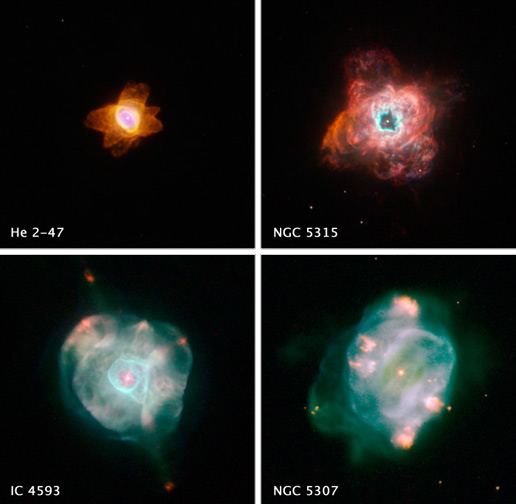 The colorful, intricate shapes in these NASA Hubble Space Telescope images reveal how the glowing gas ejected by dying Sun-like stars evolves dramatically over time.