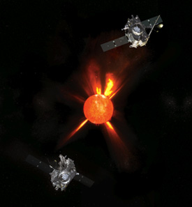 Artist's concept of the Stereo spacecraft orbiting the Sun.