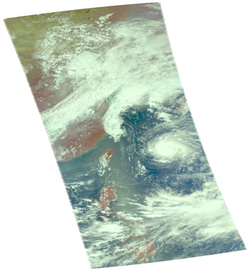 Satellite image of storm Nari