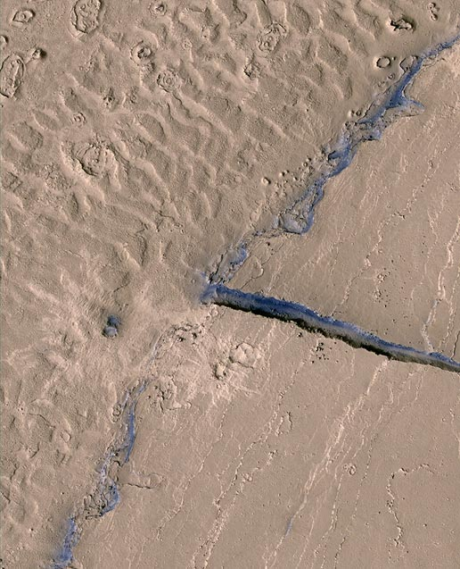 This image shows a portion of the Athabasca Valles channel system. Part of a streamlined