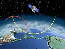 Cartoon of a satellite above Earth
