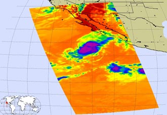 Infrared image of Hurricane Ivo
