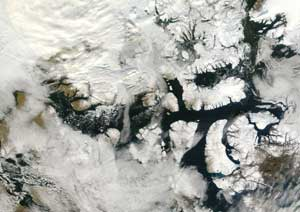 The Moderate Resolution Imaging Spectroradiometer  instrument on NASA's Terra satellite captured this image of the ice free Northwest Passage on Sept. 15, 2007.