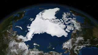 This data visualization shows Arctic sea ice on Sept. 16, 2007.