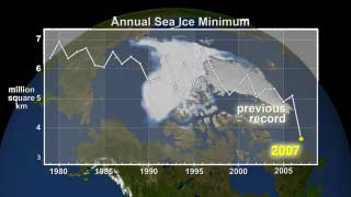 This data visualization shows the annual sea ice minimum in 2007.