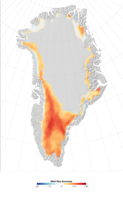 Graphic representation of the Greenland ice melt anomaly.