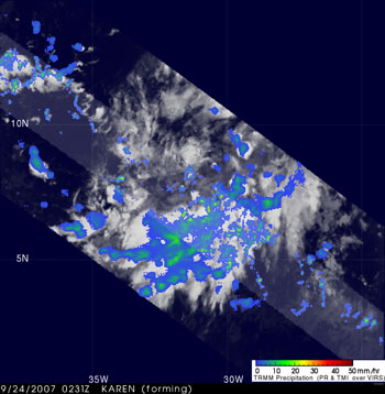 TRMM image of Tropical Storm Karen taken on September 24, 2007.