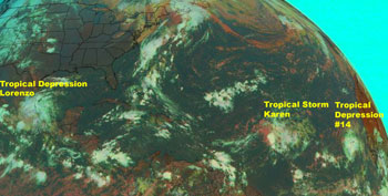 GOES image of the three active tropical storms on Sept. 28, 2007