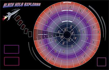 The Black Hole Explorer game board features a spaceship orbiting outside of a series of circles around a black hole