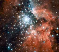 This latest image from NASAs Hubble Space Telescope shows a young star cluster surrounded by a vast region of dust and gas.