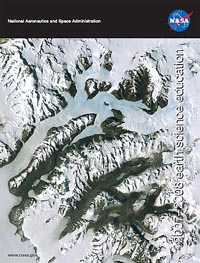 Front cover of the 2007-2008 Earth Science Education Brochure featuring a satellite-image of a glacier