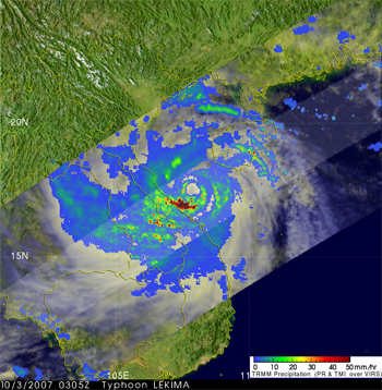 Satellite image of Typhoon Lekima