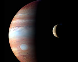 This is a montage of New Horizons images of Jupiter and its volcanic moon Io taken during the spacecrafts Jupiter flyby in early 2007.