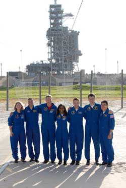 The crew of STS-120 poses beside Launch Complex 39A.