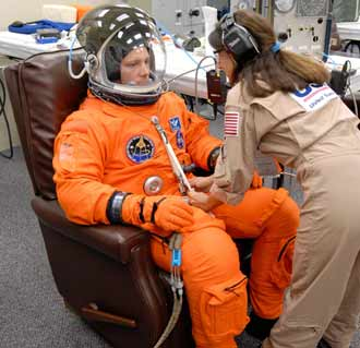 Mission Specialist Doug Wheelock practices with his launch and entry suit.