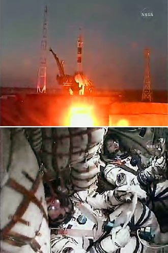 Expedition 16 launch; View inside Soyuz spacecraft