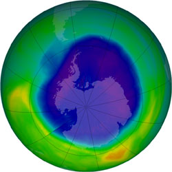 Ozone hole image from September 13, 2007