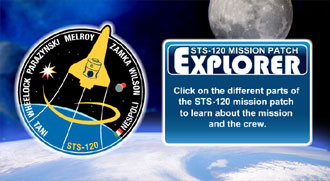 A drawing of the STS-120 mission patch with the names of the crew encircling a drawing of the space shuttle, a starburst, the moon and Mars