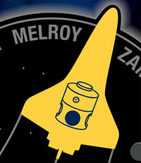 A golden silhouette of the space shuttle orbiter with the Harmony module on the STS-120 mission patch
