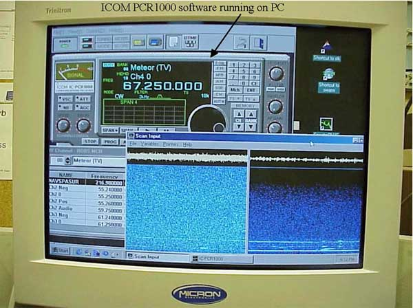 ICOM PCR 1000 software running on PC