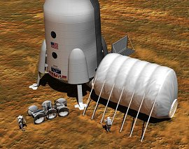 Artist's concept of Mars outpost designed to protect astronauts from radiation