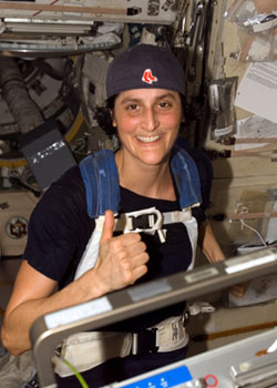 Astronaut Sunita L. Williams participates in the Boston Marathon from space.