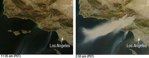 Side by side MODIS images showing smoke plumes from the Southern California wildfires.