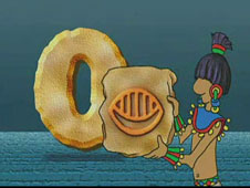 Cartoon drawing of a Mayan man holding a stone tablet with the numeral zero on it