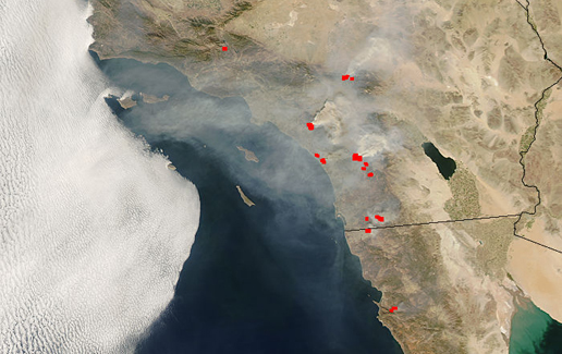 Satellite image of wildfires in Southern California