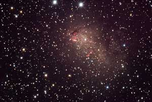 The galaxy IC 10 is an irregular dwarf galaxy about 1.8 million light years from Earth.