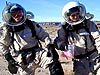 Ben Corbin and Robbie Citron don spacesuits at the Mars Society's Mars Desert Research Station