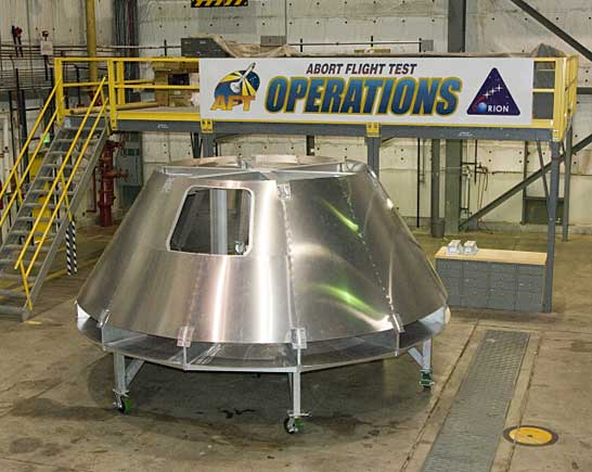 mockup of Orion crew module