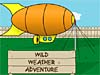 A hot-air blimp above a sign that reads Wild Weather Adventure