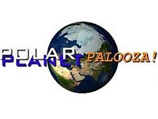 An image of Earth's north polar region on a globe with the words POLAR-PALOOZA