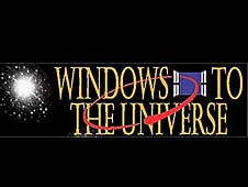 The Windows to the Universe logo featuring a star cluster and an oval-shaped orbit coming through an open window