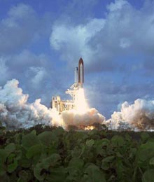 Discovery lifts off on mission STS-120