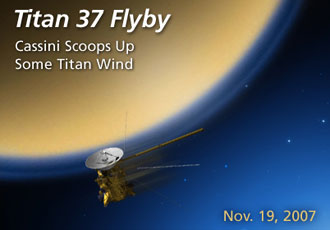 Titan 37 flyby Cassini Scoops up some Titan wind Nov. 19, 2007