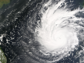 Satellite image of Typhoon Sidr