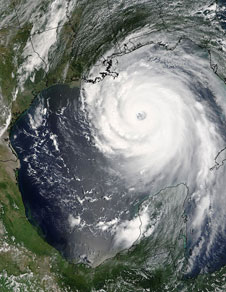 Hurricane Katrina was closing in on theMississippi Louisiana coastline and the adjacent Gulf Coast forests on Aug. 28, 2005.
