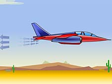 A drawing of a jet flying across a desert, with arrows pointing away from the rear of the jet
