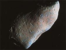 This picture of a rocky asteroid is a combination of high-resolution color information from a NASA spacecraft