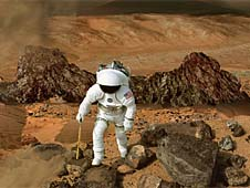 Artist's concept of a human exploring the surface of Mars