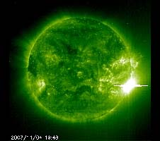 The use of an ultraviolet filter created this green image of the sun