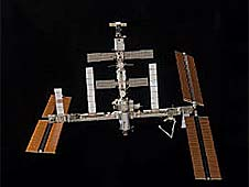 The International Space Station floating in space