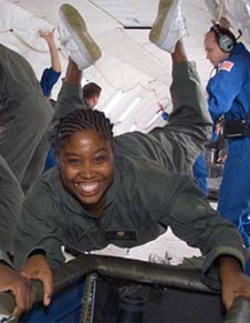 LaTasha Taylor floating in microgravity