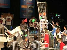 Students participating in a Botball competition.